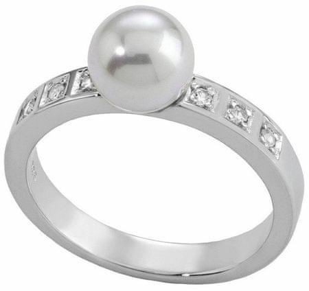 Majorica Srebrni prstan z bisernim in kamenjem 12563.01.2.913.010.1 (Obseg 53 mm) srebro 925/1000