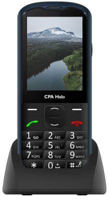 CPA Halo 18 Senior, mobil pro seniory, nabíjecí stojánek, velký displej, čitelné velké písmo, velká oddělen tlačítka, SOS tlačátko