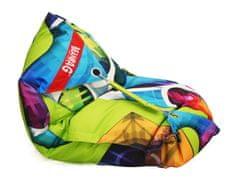 Beanbag Designový sedací vak 189x140 abstrakt s popruhy