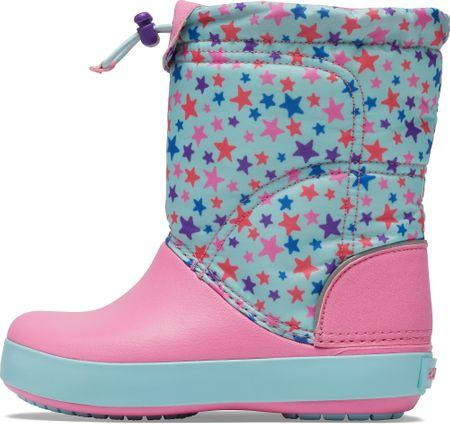 Crocs dievčenské snehule CB LodgePoint Graphic WntrBt K Ice 27,5 ružová