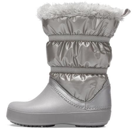 Crocs dívčí sněhule CB LodgePoint Metallic Boot 36,5 stříbrná