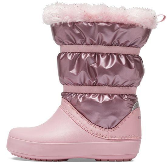 Crocs dívčí sněhule CB LodgePoint Metallic Boot 36,5 růžová