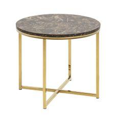Design Scandinavia Konferenčný stolík okrúhly Alma, 50 cm, zlatá/hnedá
