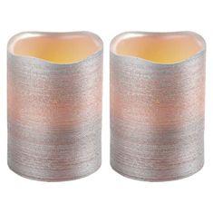 Emos LED svíčky, 5×10 cm, metalické stříbrné, 3× AAA, 2 ks