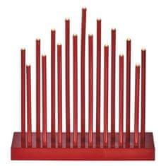 Emos LED svícen červený, 3× AA, teplá bílá, časovač