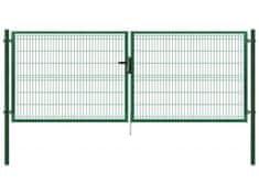 Dvoukřídlá brána poplastovaná Zn+PVC 4118×1030 mm