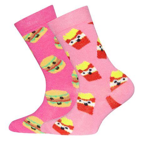 EWERS dekliške nogavice Hamburger in krompirček, 23 - 26, roza