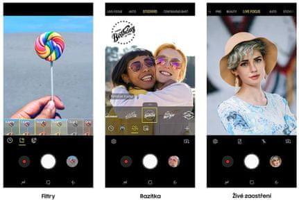 Samsung Galaxy M20, živé zaostření, filtry, razítka