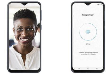 Samsung Galaxy M20, čtečka otisků prstů, odemykání obličejem