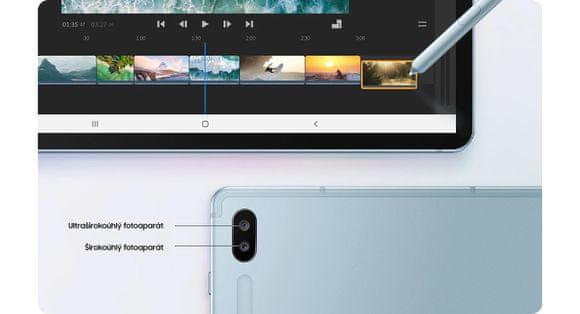 Samsung Galaxy Tab S6, duálny fotoaparát, editovanie videí, širokouhlý, optimalizácia