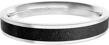 Gravelli Prsteň s betónom Fusion Thin oceľová / antracitová GJRWSSA101 (Obvod 56 mm)