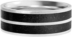 Gravelli Betónový prsteň Fusion Double line oceľová / antracitová