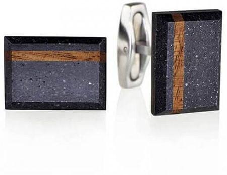 Gravelli Manžetové gombíky z betónu a dreva Falcon Wood GJCMWOA004UN