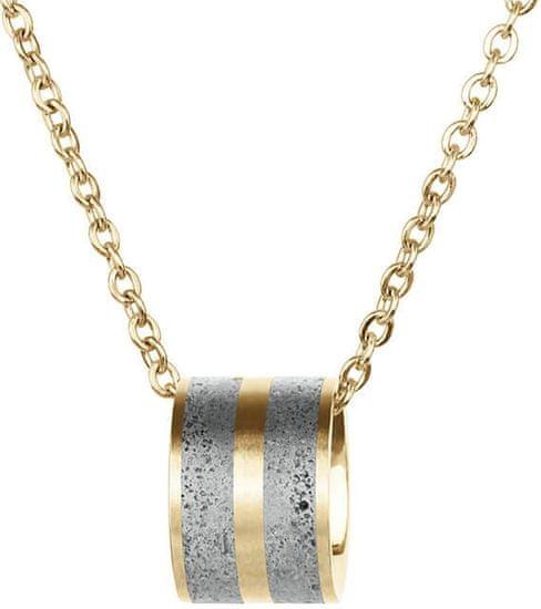 Gravelli Oceľový náhrdelník s betónovým príveskom a jemným retiazkou zlatá / šedá Fusion GJPWYGG101CCH (Dĺžka 44,5 cm)