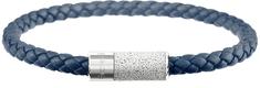 Gravelli Námornícky modrý kožený náramok s betónovou ozdobou Unity oceľová / sivá GJBUSLG141NB