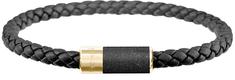 Gravelli Čierny kožený náramok s betónovou ozdobou Unity zlatá / antracitová GJBUYGA141BL