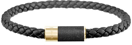 Gravelli Čierny kožený náramok s betónovou ozdobou Unity zlatá / antracitová GJBUYGA141BL (Dĺžka 18,5 cm)