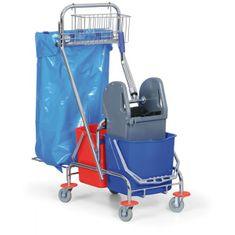 AllServices Úklidový vozík 2 x 15 l s držákem na pytel 120 l a košíkem