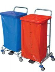 AllServices Úklidový vozík - Pedal Bag II, 2x pytel 120 l, výklopné víko na pedál