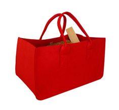 AllServices Velká filcová taška na dřevo 27 x 34 x 50 cm - červená