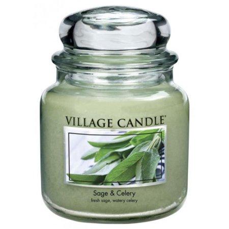 Village Candle Sveča v steklenem kozarcu Vaška sveča, Žajbelj in zelena, 454 g