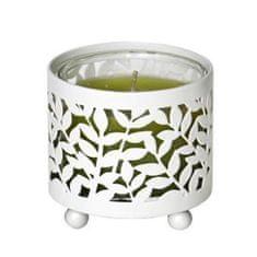 Village Candle Falu gyertya fém gyertyatartó, Levelek motívumával, egy mini gyertyára egy pohárban