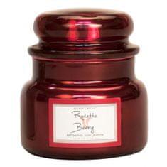 Village Candle Gyertya egy üveg fém edényben, Rózsa és piros gyümölcs, 312 g