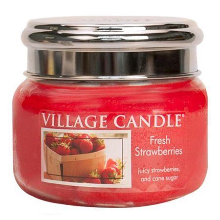 Village Candle Świeca w szklanym słoju Świeca wiejska, Świeże truskawki, 312 g