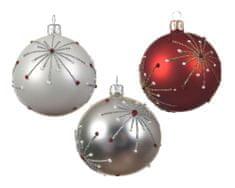 "Kaemingk Set 6 ks vianočných ozdôb ""Hviezda"", 3 assort, 8 cm, sklenené"