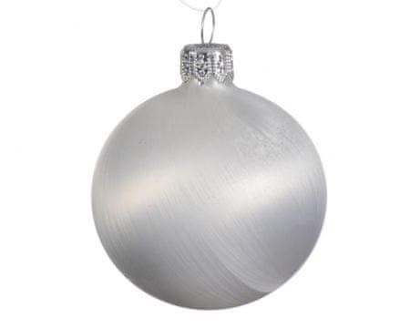 Kaemingk Set 6 ks vianočných ozdôb, 7 cm, sklenené, ľadové biele, matné