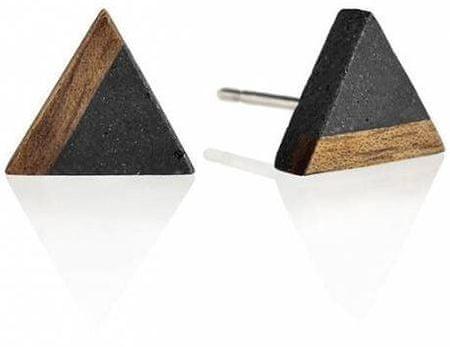 Gravelli Kôstkové náušnice z betónu a dreva Triangle Wood GJEWWOA003UN