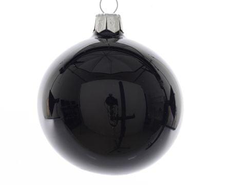 Kaemingk Set 6 ks vianočných ozdôb, 7 cm, sklenené, čierne, lesklé