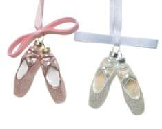 """Kaemingk Set 2 ks vianočných ozdôb """"baletky"""", 2 assort, 2 x 2 x 7,5 cm, sklenené"""