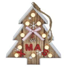 Emos LED vánoční stromek dřevěný, 23cm, 2× AAA, teplá bílá, časovač