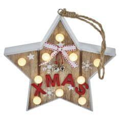 Emos LED vánoční hvězda dřěvená, 2× AAA, teplá bílá, časovač