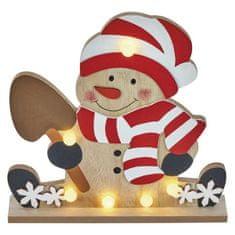 Emos LED vánoční sněhulák dřevěný, 25cm, 2× AA, teplá bílá, časovač
