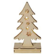 EMOS choinka drewniana LED, 23 cm, 2× AA, ciepła biel, timer
