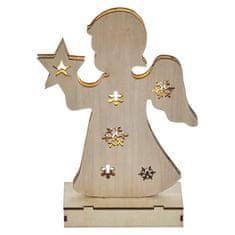 Emos LED vánoční andělíček dřevěný, 2× AA, teplá bílá, časovač