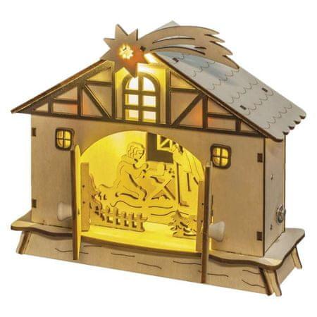 Emos LED vánoční betlém, 17cm, 2× AA, teplá bílá, časovač
