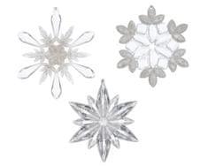 """Kaemingk 3 darabos karácsonyfadísz szett """"hópelyhek"""" csillámokkal"""