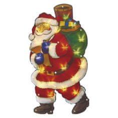 Emos LED vánoční Santa do okna, 43cm, 3× AA, teplá bílá, časovač