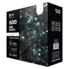 EMOS LED vianočná reťaz - ježko, vonkajší, 12m, studená biela, časovač