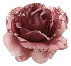 Kaemingk Ruža sa šljokicama na spojnicu, 14x8,5 cm