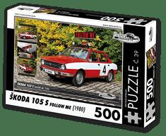 RETRO-AUTA© Puzzle č. 39 - ŠKODA 105 S FOLLOW ME (1980) 500 dílků