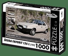 RETRO-AUTA© Puzzle č. 13 - ŠKODA FAVORIT 136 L (1989) 1000 dílků