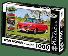 RETRO-AUTA© Puzzle č. 22 - ŠKODA 1000 MBG De Luxe (1967) 1000 dílků