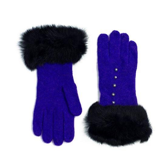 Art of Polo Vlněné rukavičky s kožíškem modré