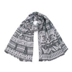 Art of Polo Aztécká bavlněná šála světle šedá.