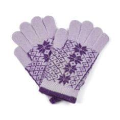 Art of Polo Angorské květované rukavice fialkové.