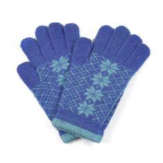 Art of Polo Angorské květované rukavice modré.